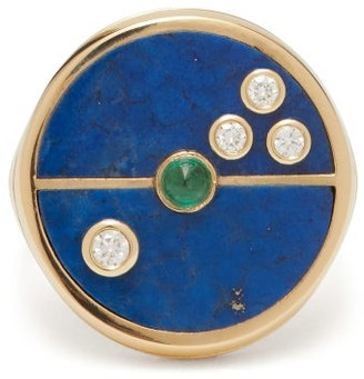Retrouvaí Compass Lapis, Diamond & 14kt Gold Ring - Blue