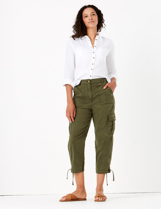 Marks and Spencer Tencel Cargo Tapered Cropped Trousers