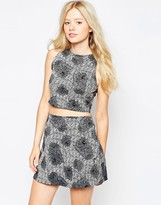 Motel Crop Top And Skirt Set In Static Rose Print