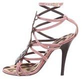 Roberto Cavalli Caiman-Trimmed Velour Sandals