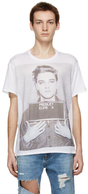 R 13 White Elvis Mugshot Boy T-Shirt