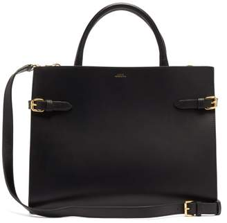 A.P.C. Farrah Buckled Smooth-leather Tote Bag - Womens - Black