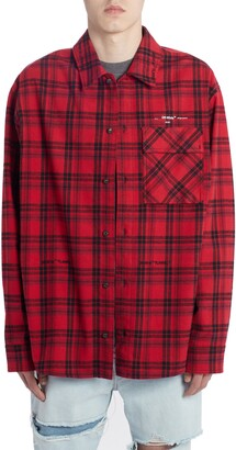 Off-White Check Flannel Button-Up Shirt