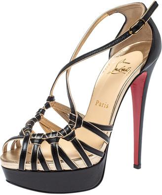 Christian Louboutin Black/Gold Leather Strappy Platform Sandals Size 38