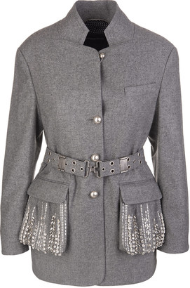 Ermanno Scervino Grey Flannel Jacket With Crystals