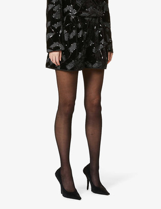 Rotate by Birger Christensen Janis geometric sequinned-print high-rise stretch-woven shorts