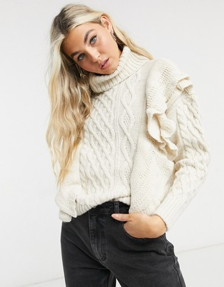 Only jumper with high neck and ruffle detail in cream