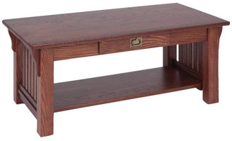 The Oak Furniture Shop Solid Oak Authentic Mission Coffee Table, Mission Cherry