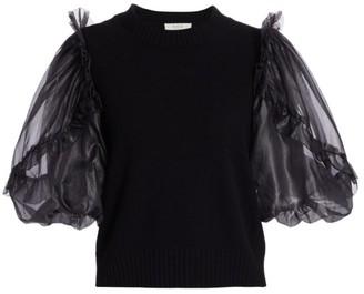 Sea Nuria Organza-Sleeve Wool, Silk & Cashmere Sweater