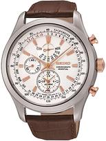 Seiko Spc129p1 Alarm Chronograph Leather Strap Watch, Brown/white