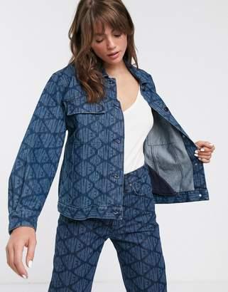 WÅVEN Karin allover logo boyfriend denim jacket