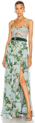 PatBO Floral Bustier Belted Maxi Dress in Sky | FWRD