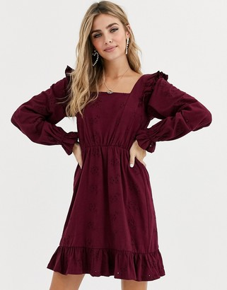 ASOS DESIGN broderie mini dress with frill shoulder in berry