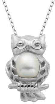 Lord & Taylor 6MM Freshwater Pearl Owl Pendant Necklace