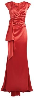 Talbot Runhof Tie-Waist Satin Gown