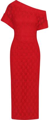 Christopher Kane One-shoulder Lace Midi Dress