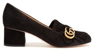 Gucci Marmont Fringed Suede Loafers - Black