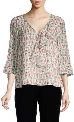 Nanette Lepore Nanette Escape Floral Print Silk Top