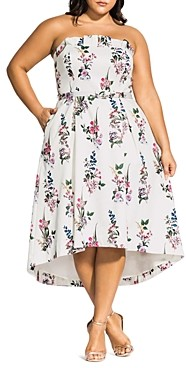 City Chic Plus Strapless Floral Print Dress
