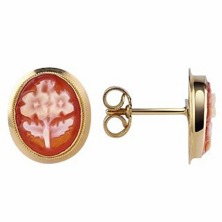 Del Gatto Flowers Cornelian Cameo 18K Gold Earrings