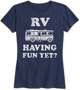 Roger Vivier Instant Message Women's Women's Tee Shirts NAVY - Navy 'RV Having Fun Yet?' Relaxed-Fit Tee - Women