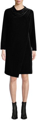 Joan Vass Petite Long-Sleeve Draped-Front Velvet Dress w/ Side Pockets