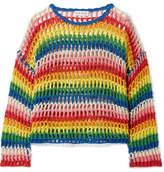 Mira Mikati Striped Crocheted Cotton Sweater - Yellow
