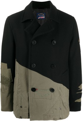 Greg Lauren X Paul & Shark Contrast Panel Distressed Peacoat