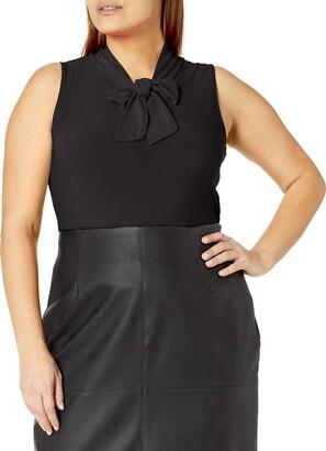 Star Vixen Women's Plus-Size Sleeveless Tieneck Blouse