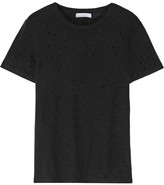 IRO Distressed Linen-jersey T-shirt - Black