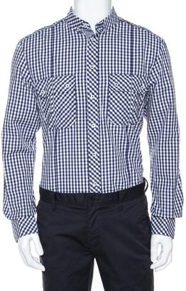 Dolce & Gabbana Bicolor Gingham Check Cotton Slim Fit Shirt XL