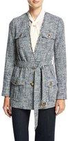 MICHAEL Michael Kors Collarless Tweed Wrap Jacket, New Navy