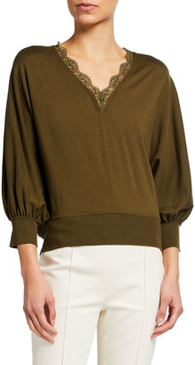 Chloé Lace V-Neck 3/4-Sleeve Wool Sweater