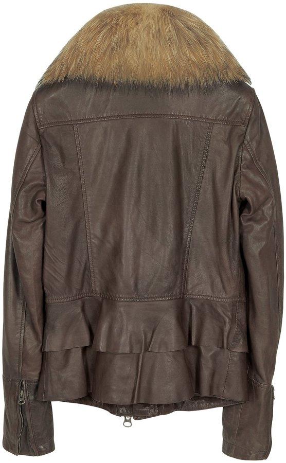Forzieri Dark Brown Asymetrical Zip Leather Jacket