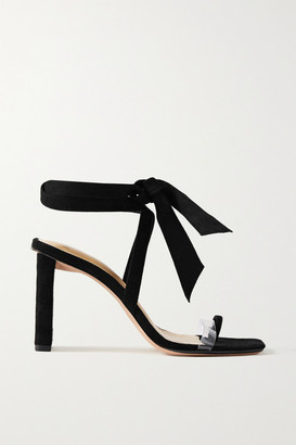 Alexandre Birman Katie Bow-embellished Suede And Pvc Sandals - Black