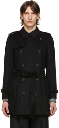 Burberry Black Wool Cashmere Trench Coat