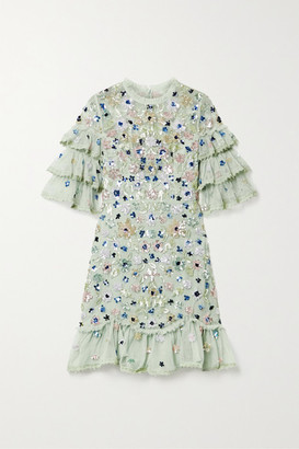 Needle & Thread Meadow Ruffled Crochet-trimmed Sequined Tulle Mini Dress - Mint