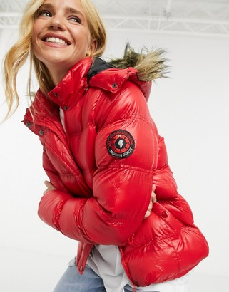 Brave Soul hopshine puffer jacket with faux-fur trim