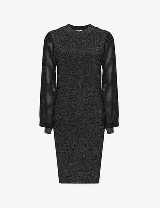 Reiss Sia pleated metallic-knit dress