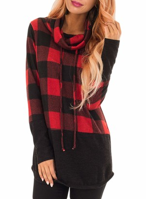 Actloe Women Plus Size Cowl Neck Plaid Long Sleeve Pullover Tops Casual Tunic Sweatshirt Red XX-Large