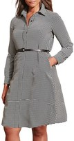 Lauren Ralph Lauren Plus Size Women's Belted Houndstooth Crepe Shirtdress
