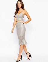 Bardot Midi Skirt In Metallic Lace
