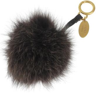 Fendi Brown Fur Pompom Bag Charm and Key Holder