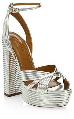 Aquazzura Sundance Platform Metallic Sandals