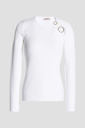 Cushnie Sienna Ring-embellished Cutout Ribbed-knit Sweater