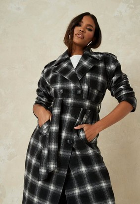 Missguided Black Brushed Plaid Formal Trench Coat