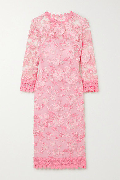 Thumbnail for your product : Naeem Khan Crochet-trimmed Embroidered Tulle And Silk Midi Dress - Pastel pink