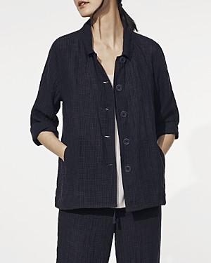 Eileen Fisher Tonal Check Classic Linen Jacket