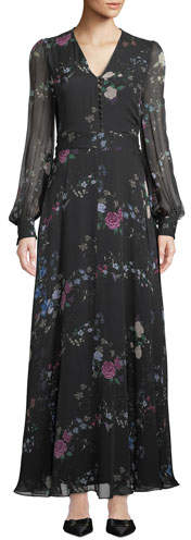 Equipment Clemense V-Neck Long-Sleeve Floral-Print Silk Maxi Dress