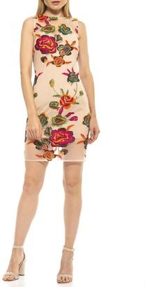 Alexia Admor Palmer Sheer Embroidered Bodycon Dress